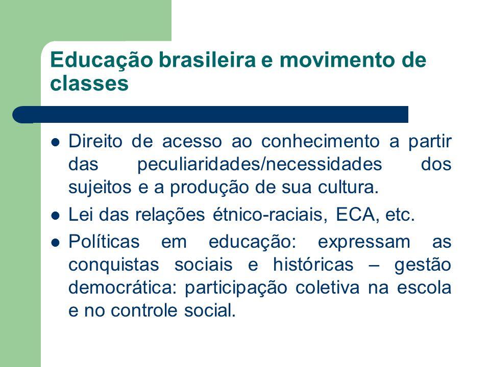 Educação brasileira e movimento de classes