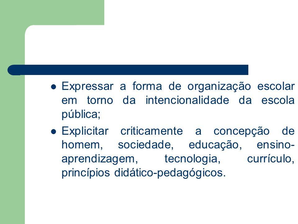 Expressar a forma de organização escolar em torno da intencionalidade da escola pública;