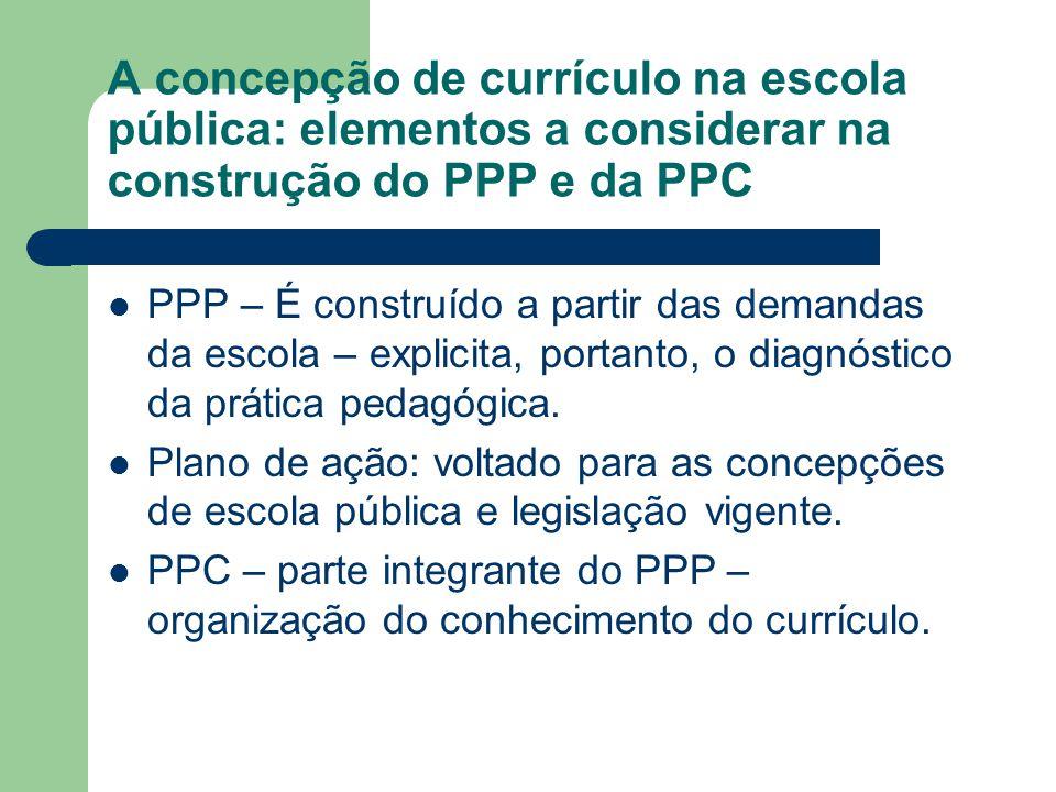 A concepção de currículo na escola pública: elementos a considerar na construção do PPP e da PPC