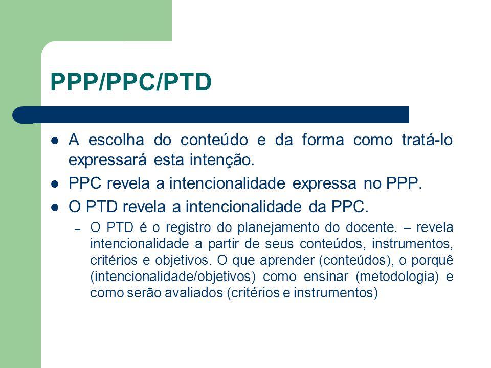 PPP/PPC/PTD A escolha do conteúdo e da forma como tratá-lo expressará esta intenção. PPC revela a intencionalidade expressa no PPP.