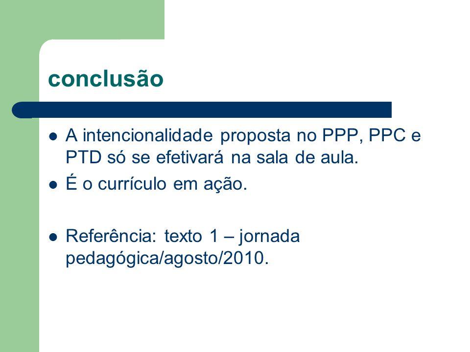 conclusão A intencionalidade proposta no PPP, PPC e PTD só se efetivará na sala de aula. É o currículo em ação.