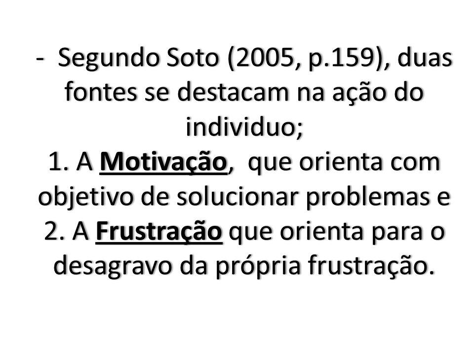 - Segundo Soto (2005, p.159), duas fontes se destacam na ação do individuo; 1.