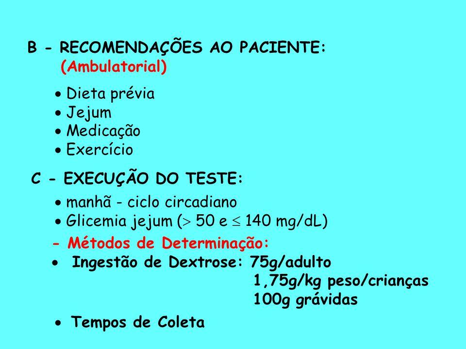 B - RECOMENDAÇÕES AO PACIENTE:
