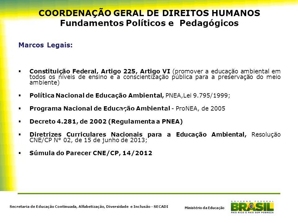 COORDENAÇÃO GERAL DE DIREITOS HUMANOS Fundamentos Políticos e Pedagógicos