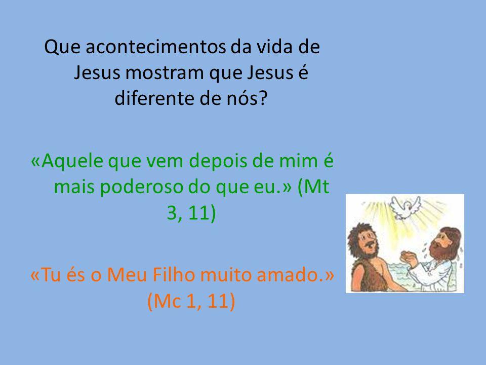 Que acontecimentos da vida de Jesus mostram que Jesus é diferente de nós.