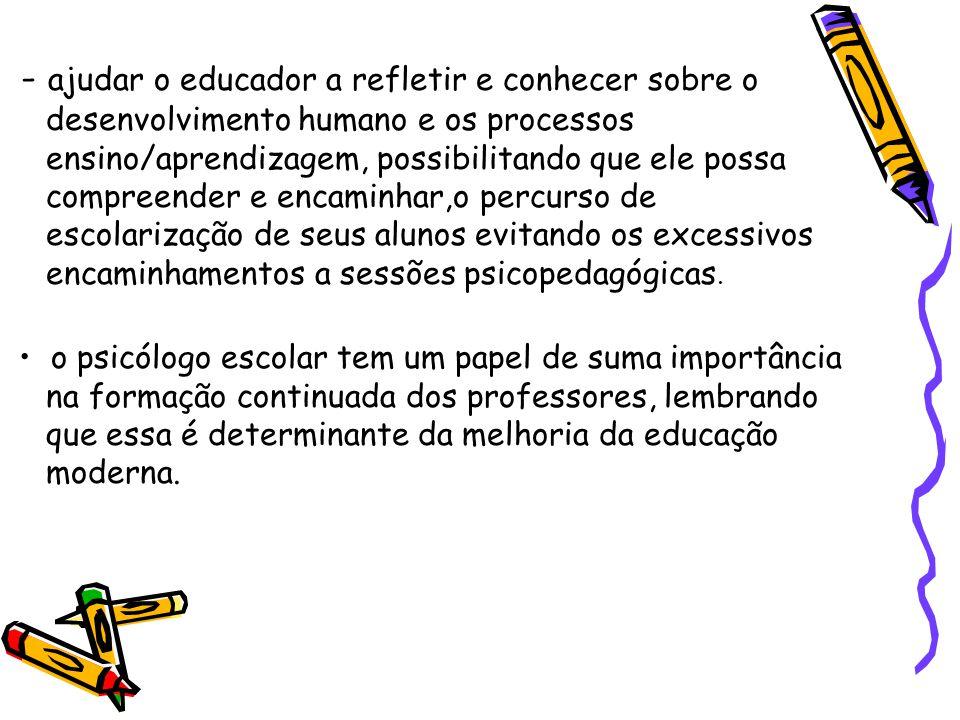 - ajudar o educador a refletir e conhecer sobre o desenvolvimento humano e os processos ensino/aprendizagem, possibilitando que ele possa compreender e encaminhar,o percurso de escolarização de seus alunos evitando os excessivos encaminhamentos a sessões psicopedagógicas.