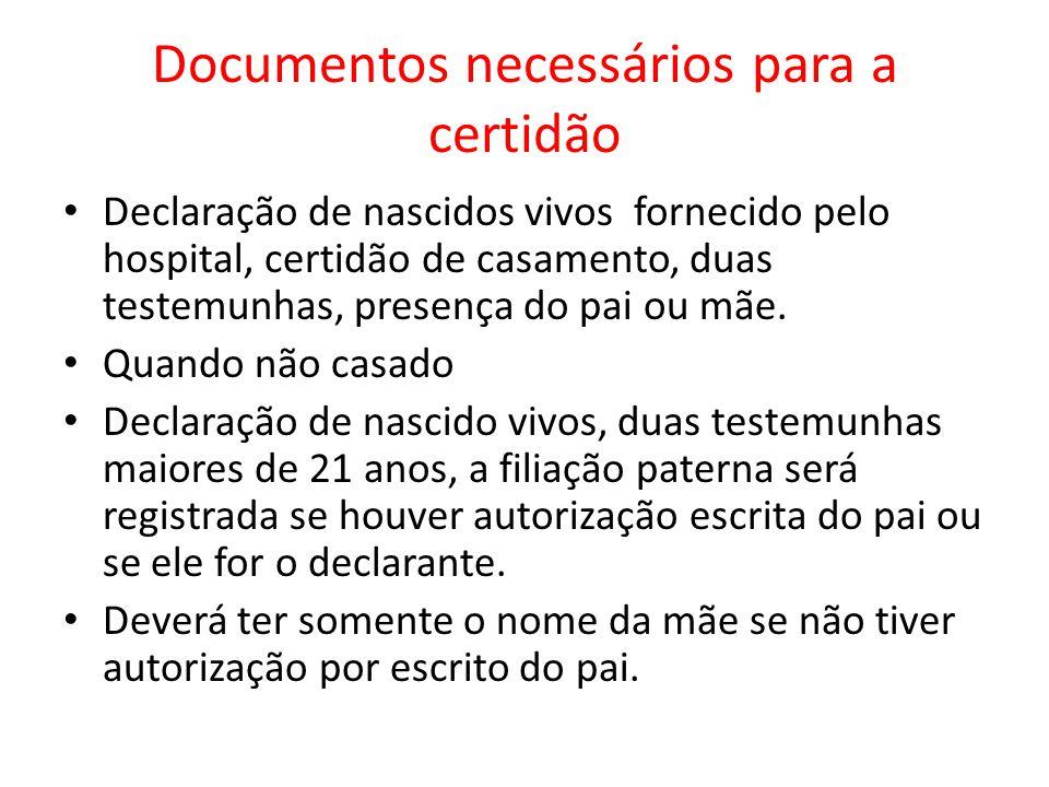 Documentos necessários para a certidão