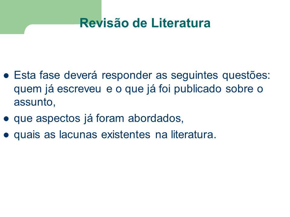 Revisão de Literatura Esta fase deverá responder as seguintes questões: quem já escreveu e o que já foi publicado sobre o assunto,
