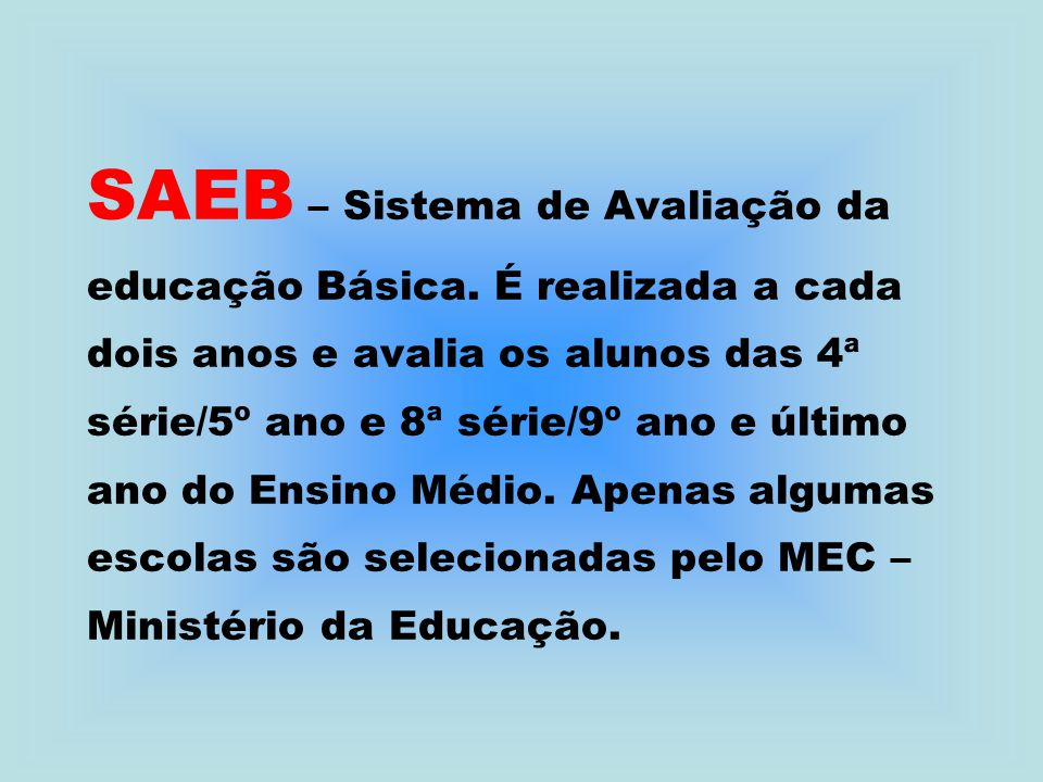 SAEB – Sistema de Avaliação da educação Básica