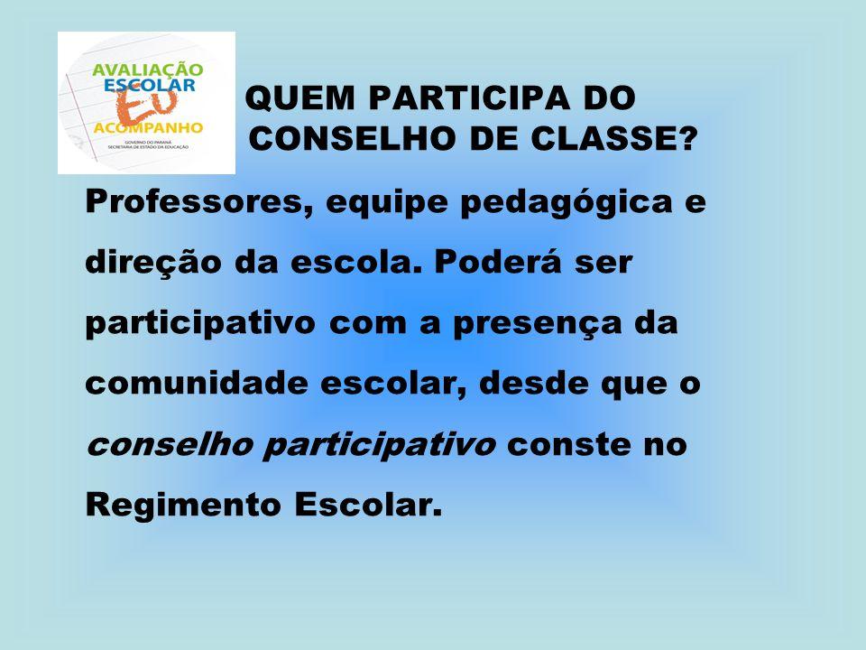 QUEM PARTICIPA DO CONSELHO DE CLASSE