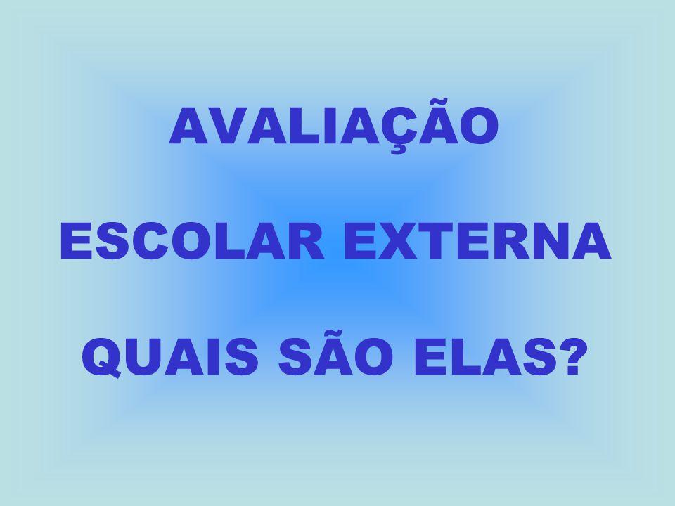 AVALIAÇÃO ESCOLAR EXTERNA QUAIS SÃO ELAS