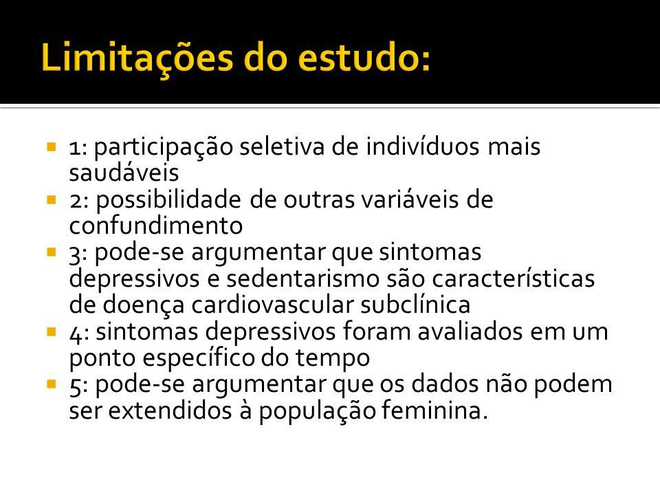 Limitações do estudo: 1: participação seletiva de indivíduos mais saudáveis. 2: possibilidade de outras variáveis de confundimento.