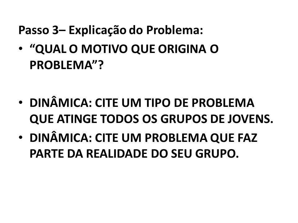 Passo 3– Explicação do Problema: