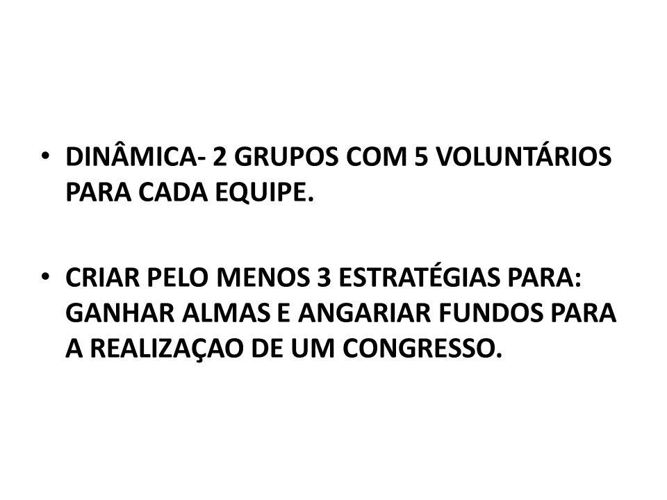 DINÂMICA- 2 GRUPOS COM 5 VOLUNTÁRIOS PARA CADA EQUIPE.