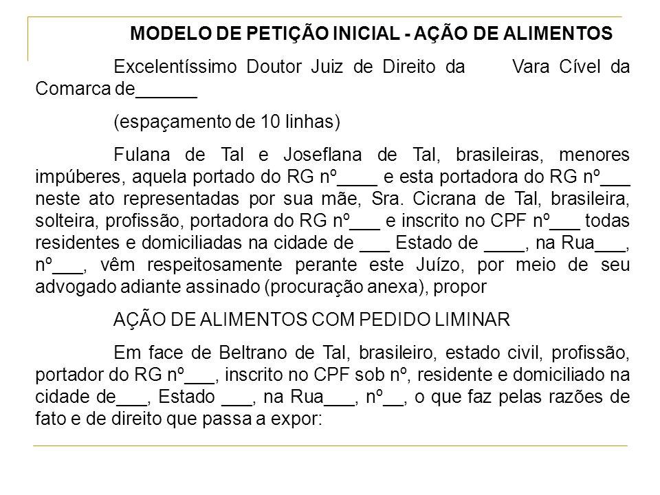 Petição Inicial Execução De Alimentos Tcc October 2019