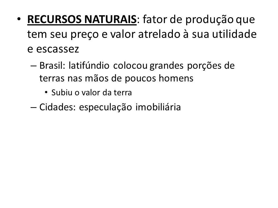 RECURSOS NATURAIS: fator de produção que tem seu preço e valor atrelado à sua utilidade e escassez
