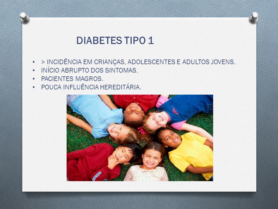 DIABETES TIPO 1 > INCIDÊNCIA EM CRIANÇAS, ADOLESCENTES E ADULTOS JOVENS. INÍCIO ABRUPTO DOS SINTOMAS.