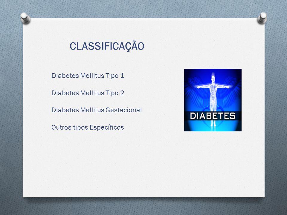 CLASSIFICAÇÃO Diabetes Mellitus Tipo 1 Diabetes Mellitus Tipo 2
