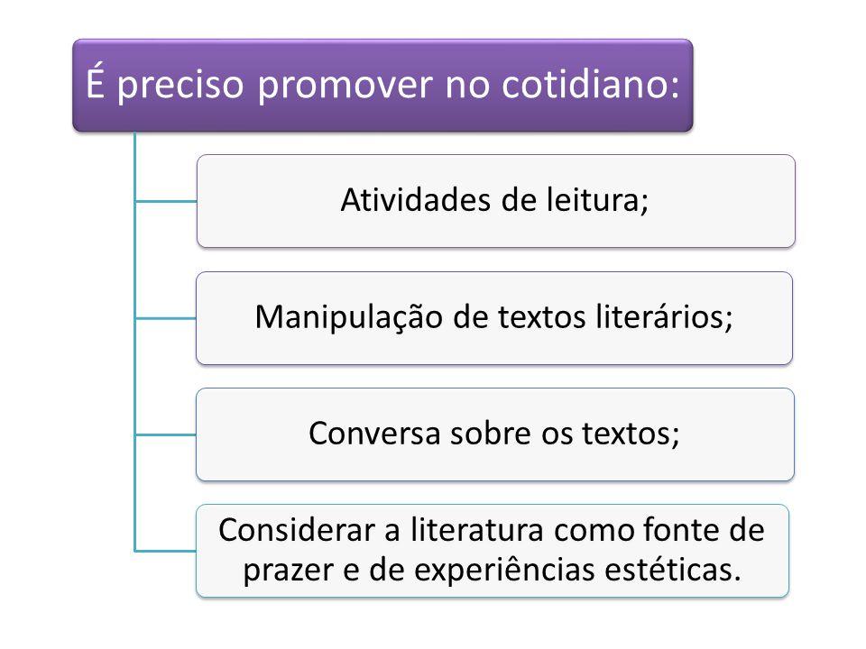 É preciso promover no cotidiano: Atividades de leitura;
