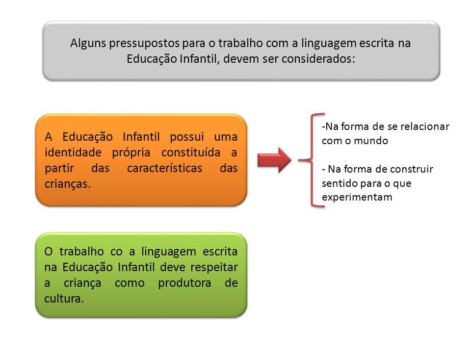 Alguns pressupostos para o trabalho com a linguagem escrita na Educação Infantil, devem ser considerados: