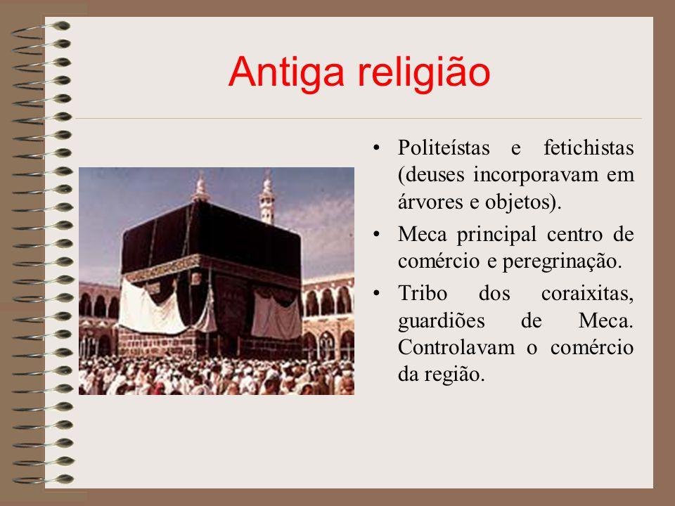 Antiga religião Politeístas e fetichistas (deuses incorporavam em árvores e objetos). Meca principal centro de comércio e peregrinação.