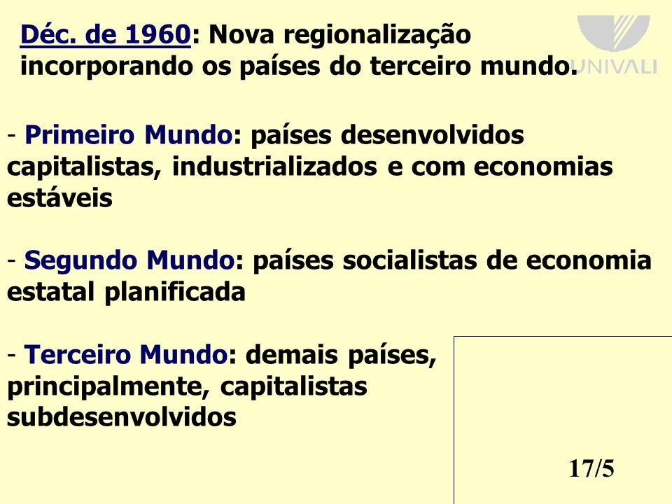Déc. de 1960: Nova regionalização incorporando os países do terceiro mundo.