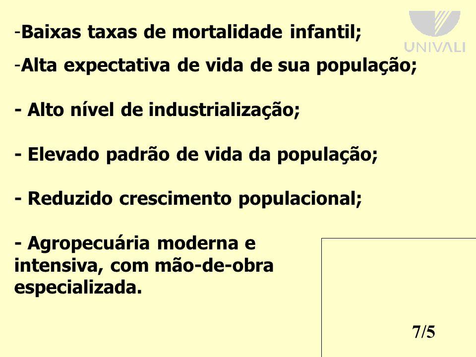 Baixas taxas de mortalidade infantil;