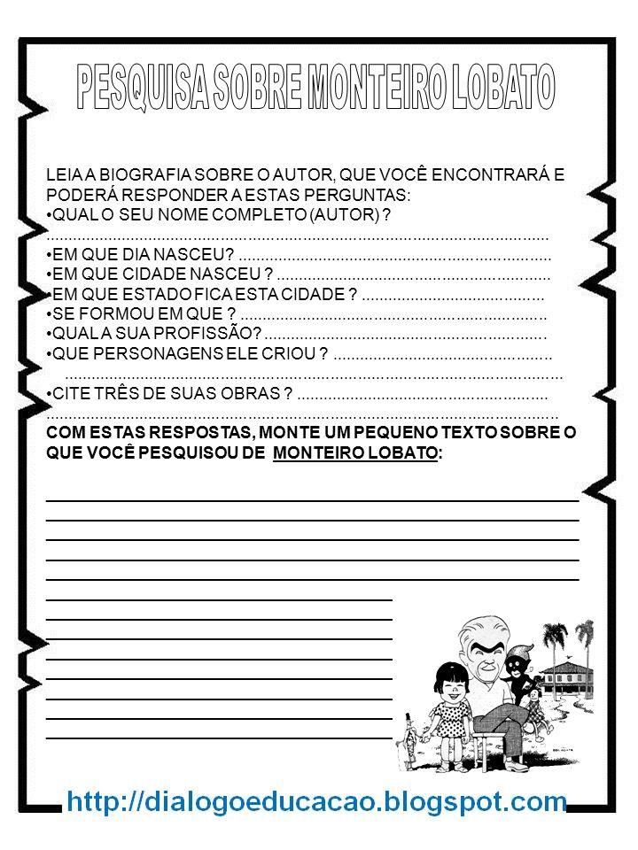 PESQUISA SOBRE MONTEIRO LOBATO