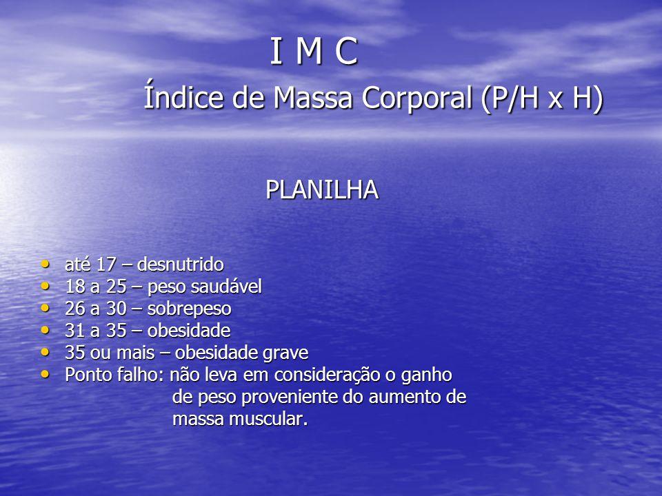I M C Índice de Massa Corporal (P/H x H)