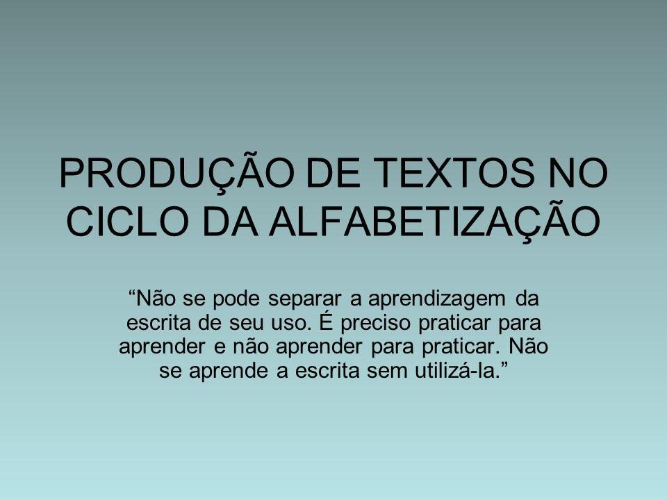 PRODUÇÃO DE TEXTOS NO CICLO DA ALFABETIZAÇÃO
