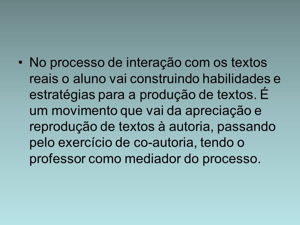 No processo de interação com os textos reais o aluno vai construindo habilidades e estratégias para a produção de textos.