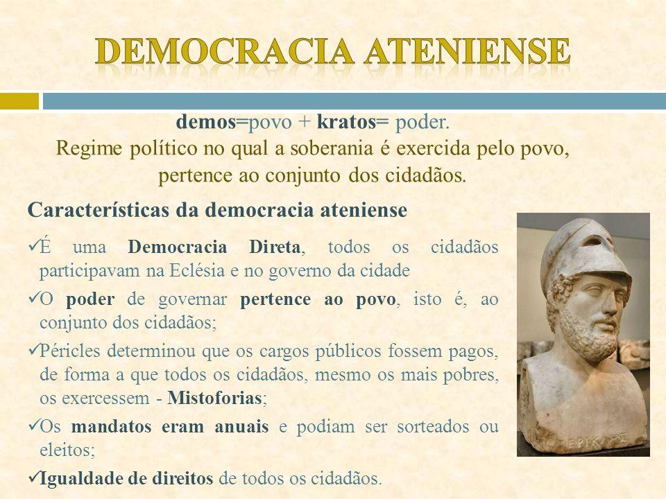 Democracia Ateniense demos=povo + kratos= poder. Regime político no qual a soberania é exercida pelo povo, pertence ao conjunto dos cidadãos.