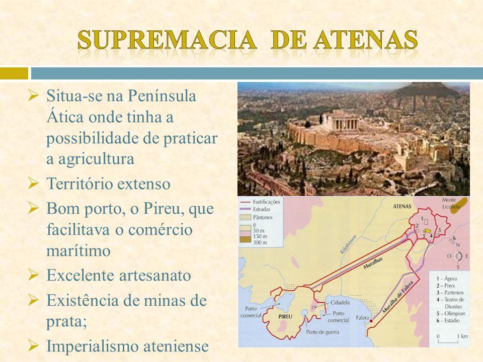 Supremacia de Atenas Situa-se na Península Ática onde tinha a possibilidade de praticar a agricultura.
