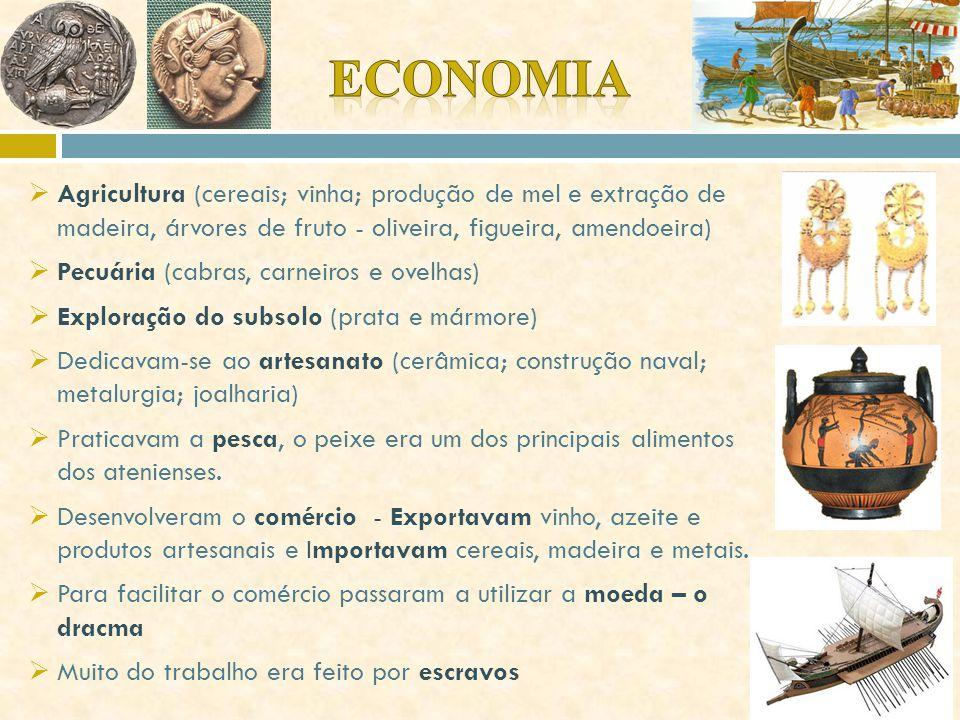 Economia Agricultura (cereais; vinha; produção de mel e extração de madeira, árvores de fruto - oliveira, figueira, amendoeira)