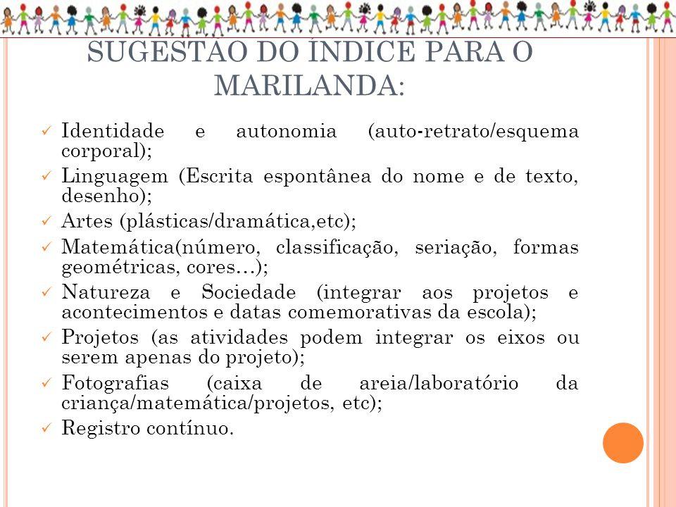 SUGESTÃO DO ÍNDICE PARA O MARILANDA: