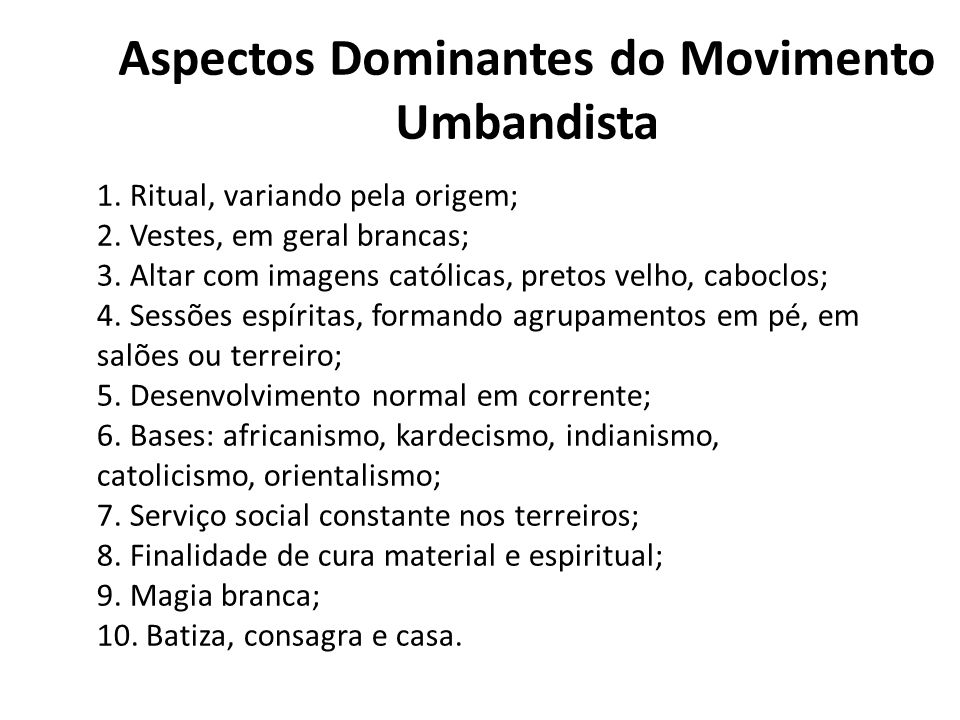 Aspectos Dominantes do Movimento Umbandista