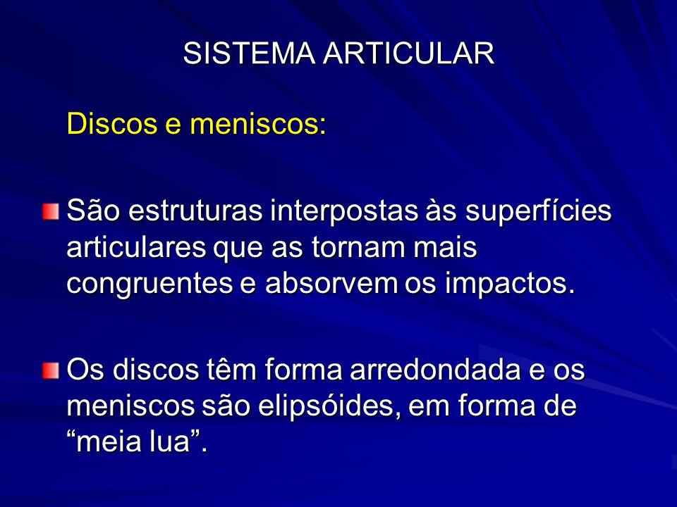 SISTEMA ARTICULAR Discos e meniscos: São estruturas interpostas às superfícies articulares que as tornam mais congruentes e absorvem os impactos.