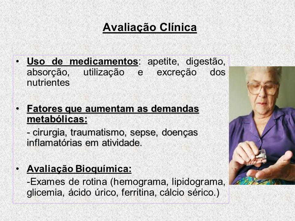 Avaliação Clínica Uso de medicamentos: apetite, digestão, absorção, utilização e excreção dos nutrientes.
