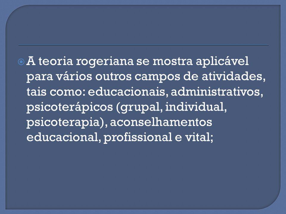 A teoria rogeriana se mostra aplicável para vários outros campos de atividades, tais como: educacionais, administrativos, psicoterápicos (grupal, individual, psicoterapia), aconselhamentos educacional, profissional e vital;