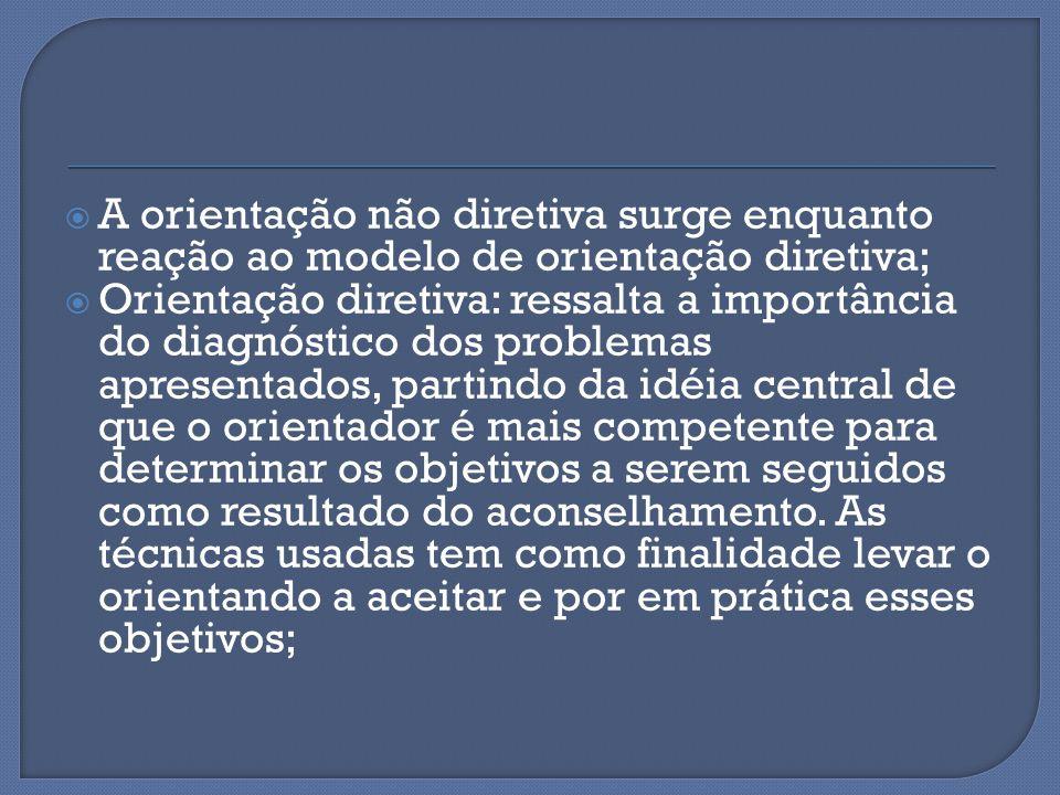 A orientação não diretiva surge enquanto reação ao modelo de orientação diretiva;