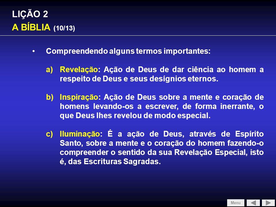 SLIDE 1/4 LIÇÃO 2 A BÍBLIA (10/13)