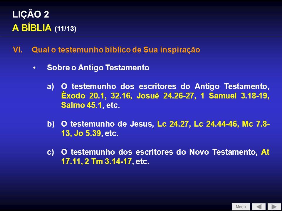 SLIDE 1/4 LIÇÃO 2 A BÍBLIA (11/13)