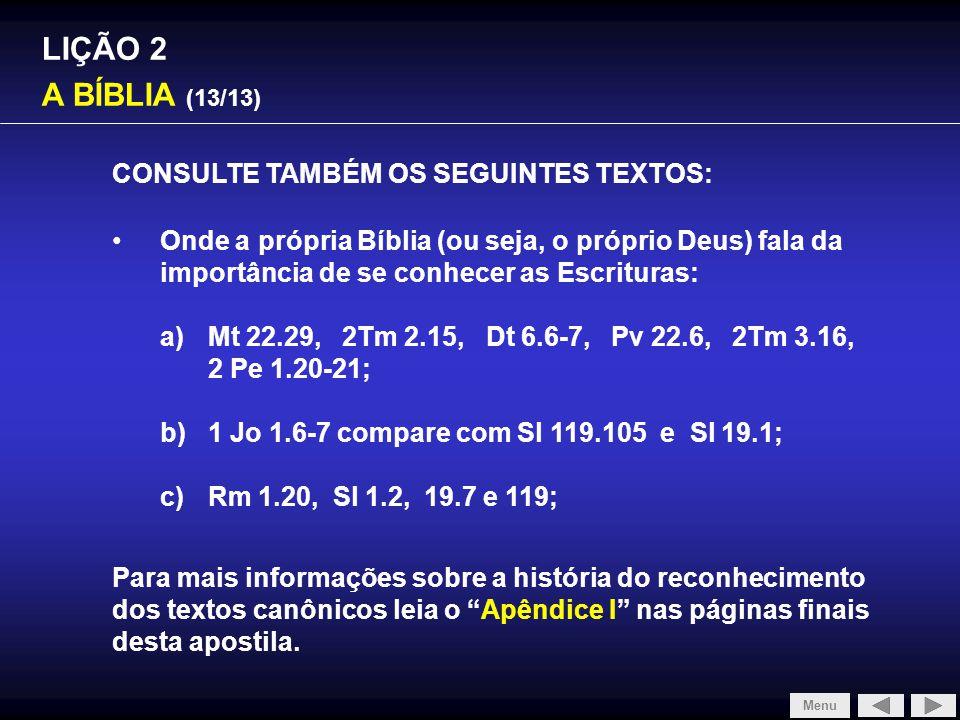 SLIDE 1/4 LIÇÃO 2 A BÍBLIA (13/13)