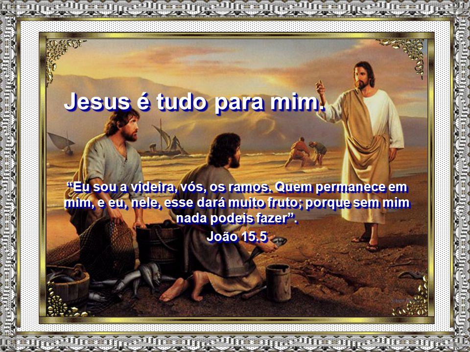 Jesus é tudo para mim. Eu sou a videira, vós, os ramos. Quem permanece em mim, e eu, nele, esse dará muito fruto; porque sem mim nada podeis fazer .