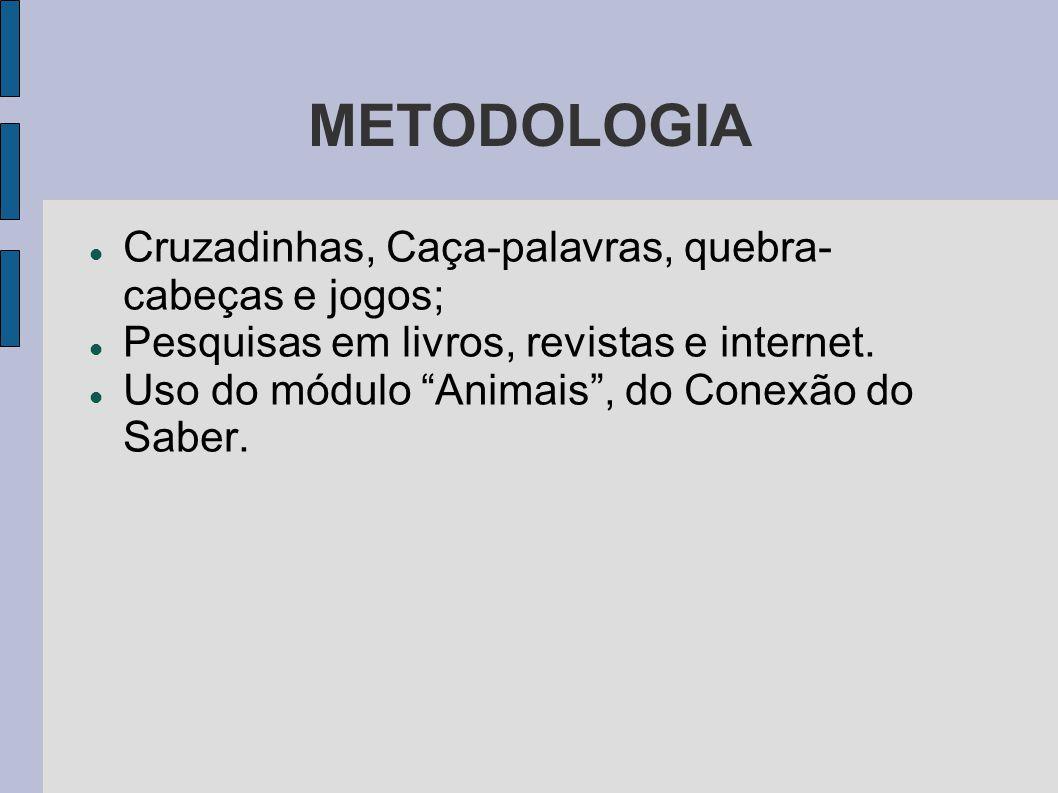METODOLOGIA Cruzadinhas, Caça-palavras, quebra- cabeças e jogos;