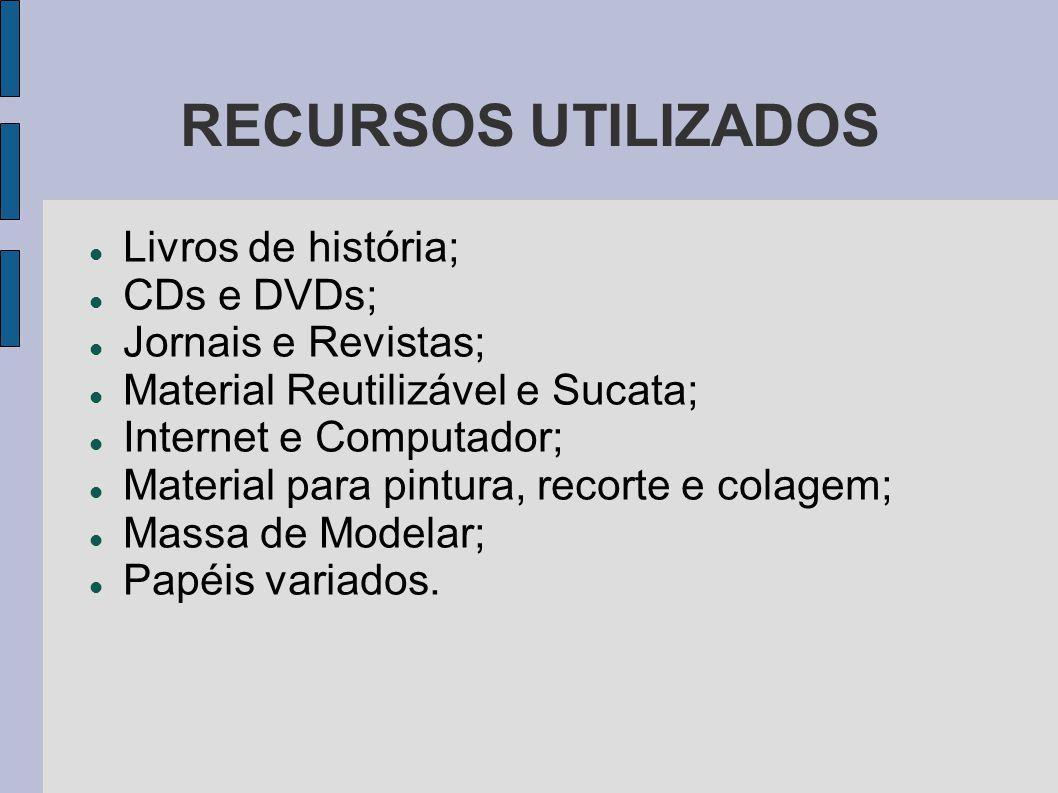 RECURSOS UTILIZADOS Livros de história; CDs e DVDs;