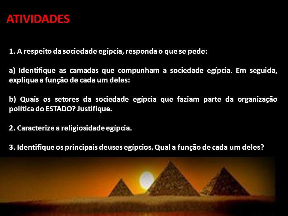 ATIVIDADES 1. A respeito da sociedade egípcia, responda o que se pede: