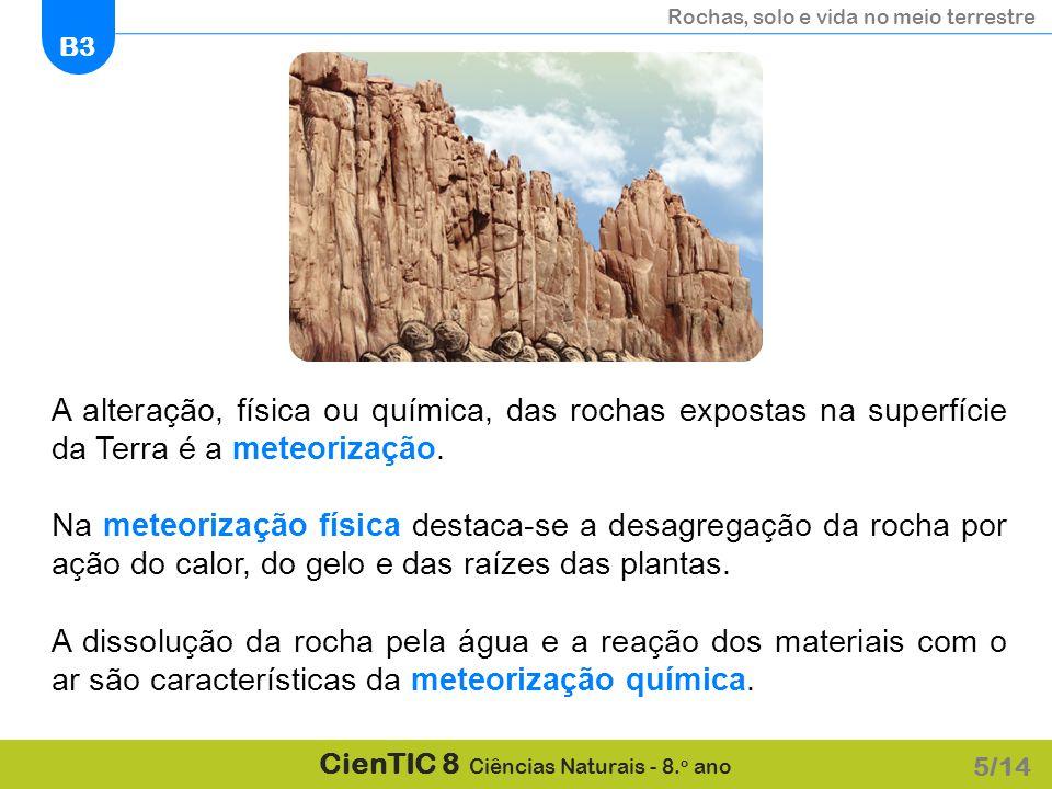 A alteração, física ou química, das rochas expostas na superfície da Terra é a meteorização.