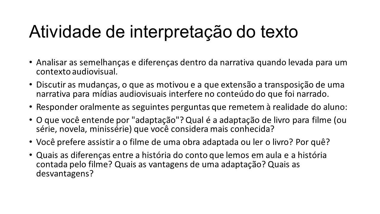 Atividade de interpretação do texto