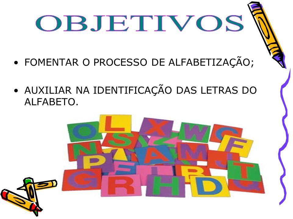OBJETIVOS FOMENTAR O PROCESSO DE ALFABETIZAÇÃO;